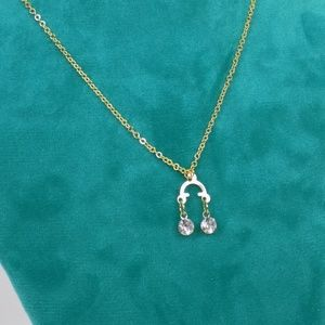 dainty layering necklace with cubic zirconia stone